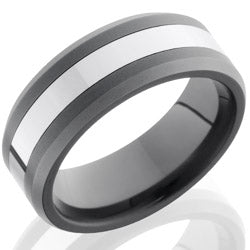 Style 103852: Ceramic and Tungsten 8mm Beveled Band