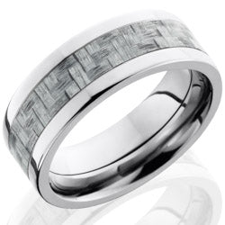 Style 103604: Titanium 8mm Flat Band with 4mm of Silver Carbon Fiber
