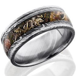 Style 103841: Damascus Steel 9mm domed band with rounded edges and 4mm Kings Mountain Camo