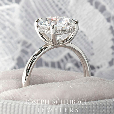Round Duchess Engagement Ring with Petite Pavé Under Bezel