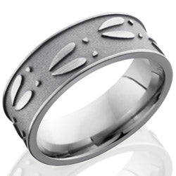 Style 103564: Titanium 8mm Flat Band with Deer Track Pattern