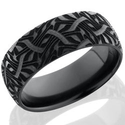 Style 103892: Zirconium 8mm domed band with a laser carved Escher 2 design