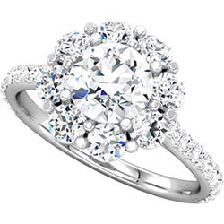 Style 102246-6.5mm: Round Halo Engagement Ring With Diamonds