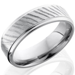 Style 103536: Titanium 7mm Flat Band with Grooved Edge