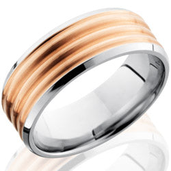 Style 103701: Cobalt Chrome 8mm Beveled band with 6mm 14KR