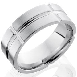 Style 103729: Cobalt Chrome 8mm Flat Band with Segmented Pattern