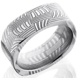 Style 103834: Basket Patterned Damascus Steel 8mm Flat, Square Band