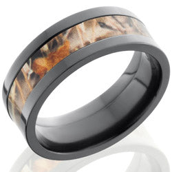 Style 103955: Zirconium 8mm Flat Band with 4mm of MossyOak Camo