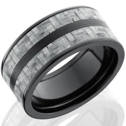 Style 103942: Zirconium 10mm Flat Band with 2 stripes of 3mm Silver Carbon Fiber