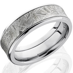 Style 103979: Cobalt Chrome 7mm Concave Band with Beveled Edges and 5mm Meteorite