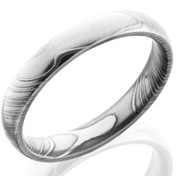 Style 103802: Damascus Steel 4mm Domed Band