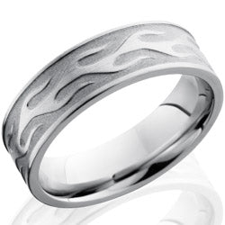 Style 103686: Cobalt Chrome 7mm Flat Band with Flame Pattern