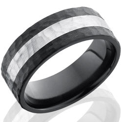 Style 103911: Zirconium 8mm Flat Band with 3mm SS