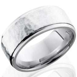 Style 103785: Cobalt Chrome 9mm Flat Band with Grooved Edges and 6mm SS