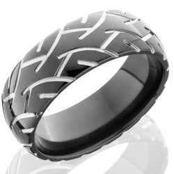 Style 103899: Zirconium 8mm Domed Band with Tire Tread Pattern