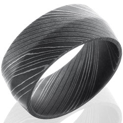 Style 103801: Damascus Steel 10mm Peaked Band