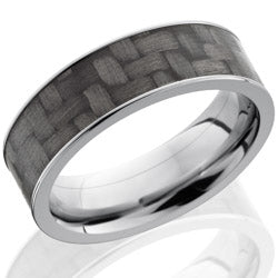Style 103596: Titanium 7mm Flat Band with 6mm of Carbon Fiber