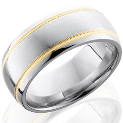 Style 103779: Cobalt Chrome 9mm Domed Band with 2mm Milgrained 14KY