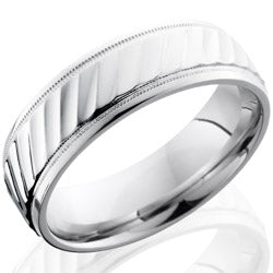 Style 103666: Cobalt Chrome 7mm Beveled Band with Striped Pattern