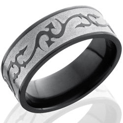 Style 103931: Zirconium 8mm Flat Band with Thorn Pattern