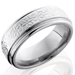 Style 103578: Titanium 8mm Flat Band with Rounded Edges and Flower Pattern