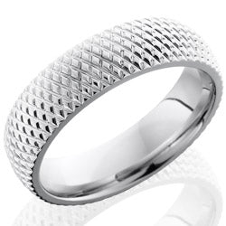 Style 103655: Cobalt Chrome 6mm Domed Band with Knurl Pattern