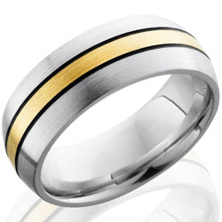 Style 103715: Cobalt Chrome 8mm Domed Band with 2mm 14KY