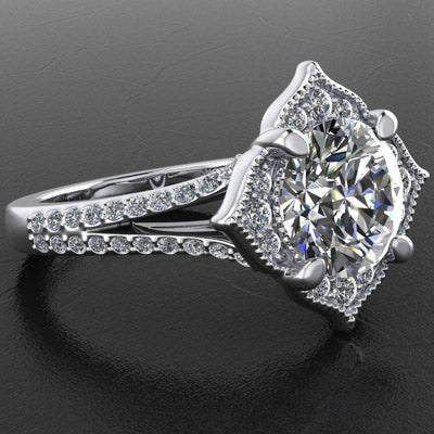 Style 103311: Floral Inspired Diamond Halo Engagement Ring With A Split Pave Band