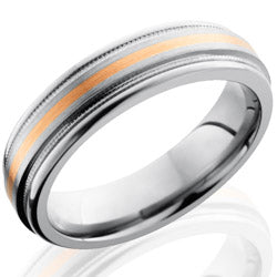 Style 103521: Titanium 6mm Flat Band with Rounded Edges, Milgrain, and 1mm 14KR
