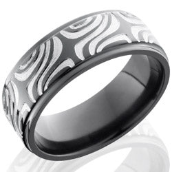 Style 103923: Zirconium 8mm Flat Band with Grooved Edges and Mokume Pattern