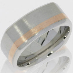 Style 103776: Cobalt Chrome 9mm Beveled Square Band with 2mm 14KY