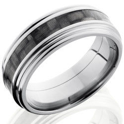Style 103607: Titanium 8mm Flat Band with 3mm of Carbon Fiber and Rounded Edges