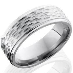 Style 103566: Titanium 8mm Flat Band with Grooved Edges