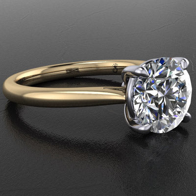 Style 103323: Classic Tapered Round Cathedral Solitaire Engagement Ring