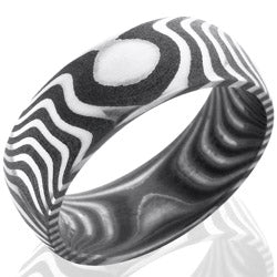 Style 103830: Tiger Patterned Damascus Steel 8mm Domed Band