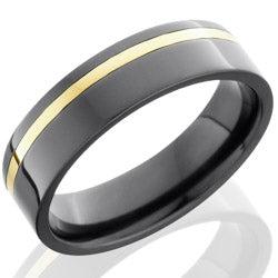Style 103962: Zirconium 6mm Flat Band with 1mm 14KY