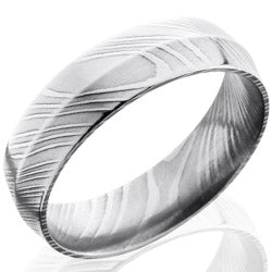 Style 103805: Damascus Steel 6mm Peaked Band