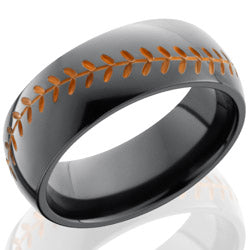 Style 103898: Zirconium 8mm Domed Band with Baseball Pattern