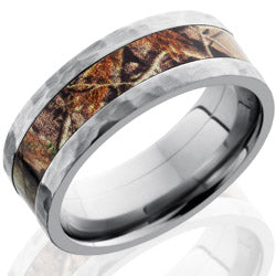 Style 103622: Titanium 8mm Flat Band with 4mm of Realtree AP Camo
