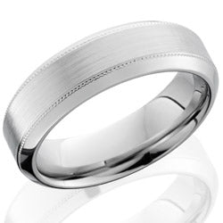 Style 103689: Cobalt Chrome 7mm high beveled band with milgrain