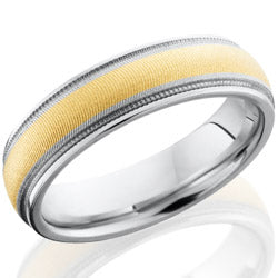 Style 103654: Cobalt Chrome 6mm domed band with grooved edges, milgrain and 3mm of 14KY