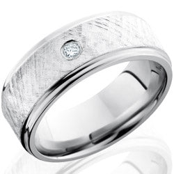 Style 103744: Cobalt Chrome 8mm Flat Band with Grooved Edges, 6mm SS, and Flush Set .07ct Diamond