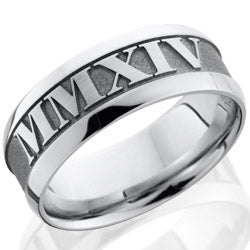 Style 103771: Cobalt Chrome 8mm wide bevel band with customized laser carved Roman Numerals