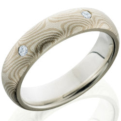 Style 103848: Mokume 5mm Domed with PD, SS and Flush Set White Round Diamonds