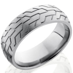 Style 103551: Titanium 8mm Domed Band with Tire Tread Pattern