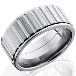 Style 103508: Titanium 10mm Flat, Spinner Band with Gear Pattern