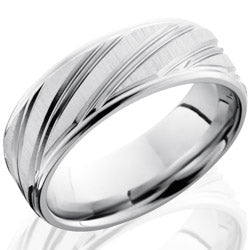 Style 103767: Cobalt Chrome 8mm Flat Band with Rounded Edges and Striped Pattern