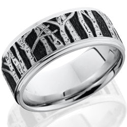 Style 103783: Cobalt Chrome 9mm flat band with grooved edges and laser carved Aspen pattern