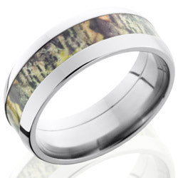 Style 103618: Titanium 8mm Domed Band with 4mm of MossyOak Camo