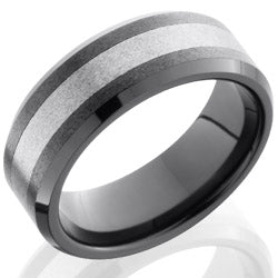 Style 103853: Ceramic and Tungsten 8mm Beveled Band
